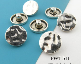 Hammered Pewter Button 17mm Antiqued Silver (PWT 511) 6 pcs BlueEchoBeads