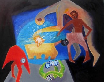 Painting, oil on canvas, Odysseus escapes Polyphemus, 20 x 24ins
