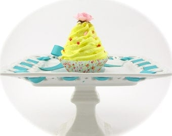 "Fake Cupcake ""Shabby Chic Marie Antoinette"" Collection Yellow Frosting Pink Rose Fab Home Decor, Photo Shoot Props"