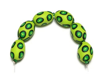 Lime Green Polymer Clay Beads Oval Handmade Set 6 Focal Beads Pantone Emerald Color of the Year Star Canework Bead Supplies 19 mm