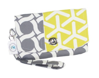 Organic Handmade Mini Clutch Gray Circles and Yellow Tridents - Free Shipping