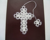 White Tatted Lace Cross Bible Bookmark