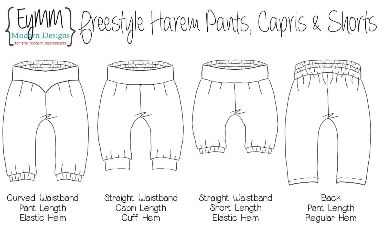 harem pants template - freestyle harem pants shorts and capris nb 18 doll