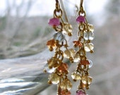 Pink Topaz Earrings, Luxe Multi Gemstone Earrings, Gold Vermeil, Gold Filled Earrings, Exquisite Gift For Her, Ready to Ship