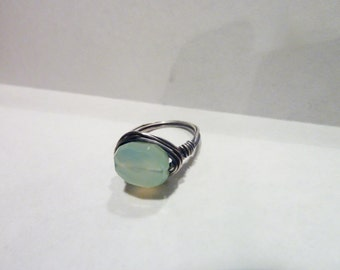 Faceted Sea Foam Chalcedony and Sterling Silver Filled Wire Wrapped Ring