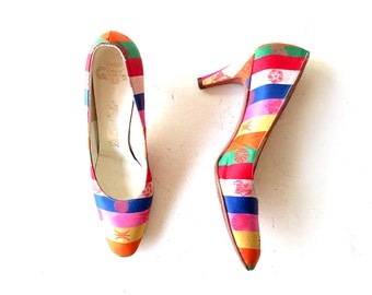 Vintage 1950s Heels / Striped Satin Shoes / 50s Shoes / DeLiso Debs / Size 8