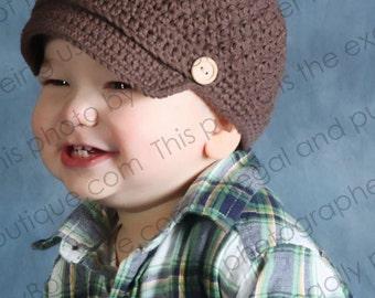 Newsboy Hat Crocheted Chocolate Button Accent Boys Toddler Visor Beanie Skater Hat