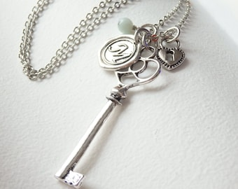 SALE - Vintage Style Skeleton Key and Wax Seal Monogram Long Necklace