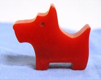 Vintage Scottie Dog Red Bakelite Pencil Sharpener Antique Scotty Dog