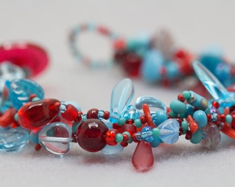 Turquoise Blue Red Beaded Bracelet / Rock Garden Jewelry / Simple Versatile Piece by randomcreative on Etsy