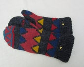 Geometric Patterned Sweater Mittens