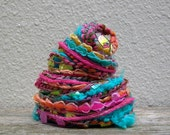 pool party fiber effects™  12yds specialty art yarn embellishment bundle  . turquoise yellow hot pink orange