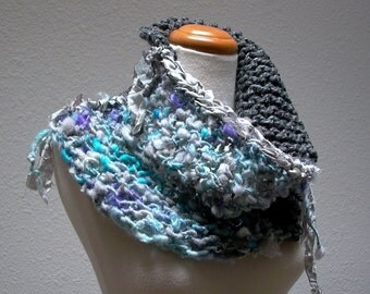 winter song. bohemian cowl neck scarf chunky knit art yarn neck warmer . handspun mohair recycled sari silk . gray turquoise lavender silver