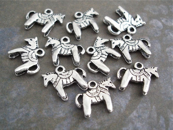 Dala Horse Charms Silver Antiqued 10