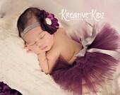 Newborn baby tutu set { Perfectly Plum } Fancy Holiday Headband Purple & Silver Tutu, wedding tutu, newborn photography prop