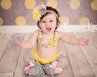 Cake Smash bloomer 4pc set { Sunshine Forever } Gray Yellow pink lace legwarmers, chunky necklace, 1st birthday, lemonade photography prop