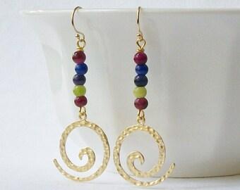 Boho Swirl Beaded Earrings, Bohemian Earrings