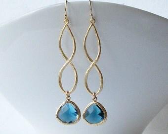 Sapphire Blue Crystal Infinity Drop Earrings