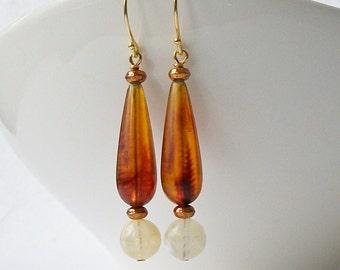 Brown Milky White Dangle Eco-Friendly Earrings