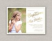 LDS Baptism Invitation - Mia