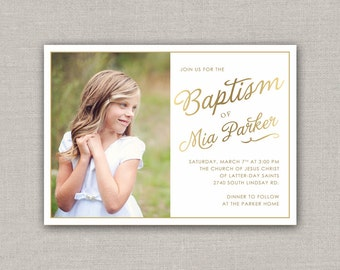 LDS Baptism Invitation - Mia