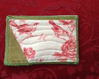OOAK Artist HAndmade Quilted Fabric Post Card with Vintage Style Birds