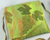 Painted Cross Body Purse, Grapes and Leaves