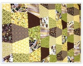 "Lap Quilt, 55x72"", browns, greens, lovely patterned lap quilt"