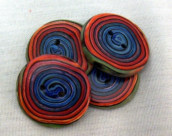 Blue, Red, Orange and  Green Spiral Button No. 223