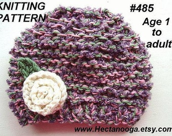 KNITTING PATTERN, HAT, age 1 to adult, baby, children, clothing, hats, accessories, cold climate, num. 485