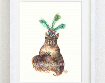 Squirrel art, Dancing Squirrel, Peacock feather headdress, Funny animal wall art, animal art, kids room art