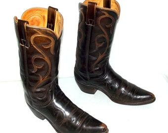 Vintage Brown Wrangler Cowboy Boots mens size 10 B Narrow / womens 11 to 11.5