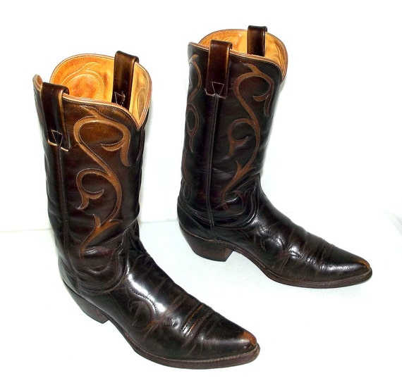 vintage brown wrangler cowboy boots mens size 10 b narrow