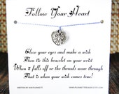 Follow Your Heart - Wish Bracelet - (Scroll Print Heart) - Shown In The Color PERIWINKLE  - Over 100 Different Colors Are Also Available