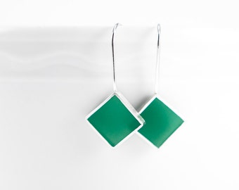 Panic Earrings green resin and sterling silver earring- winter holiday christmas gift