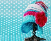 Baby Girl Hat with Crochet Flower Handmade Gift İdeas for Babies White Earflap Hat for 0-3 months Baby Girls Striped Tassel Hat