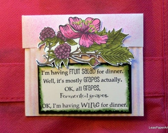 Handmade Stamped Tea Bag with humorous sentiment for wine lovers, Stampin Up images, PaperArt, Twinnings Herbal Red Raspberry Tea