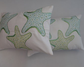 STOCK CLEARANCE 20% OFF- Nautical,Star  fish  pillow in aqua blue and green for kids bed room   -12X18 inch l instock
