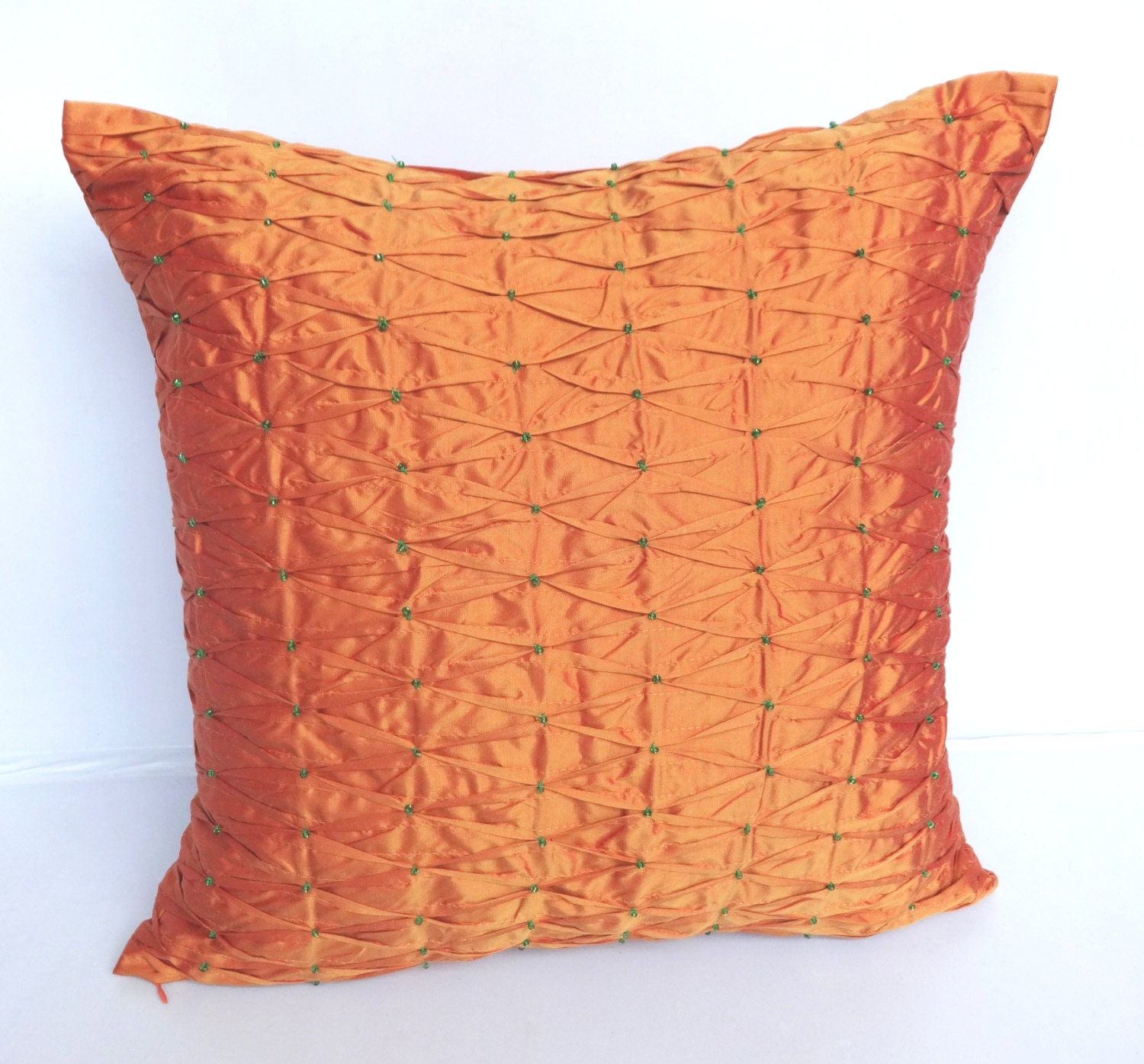 Golden Orange Silk Throw Pillow With By Comfyheavenpillows