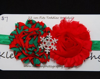 Toddler to Adult Christmas Snowflake Shabby Flower Headband #1-READY TO SHIP