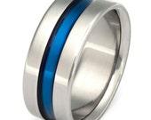 Blue Titanium Wedding Band - Wide Blue Ring - Thin Blue Line