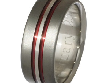 unique red titanium wedding ring wedding band firefighters ring sa20 red - Firefighter Wedding Rings