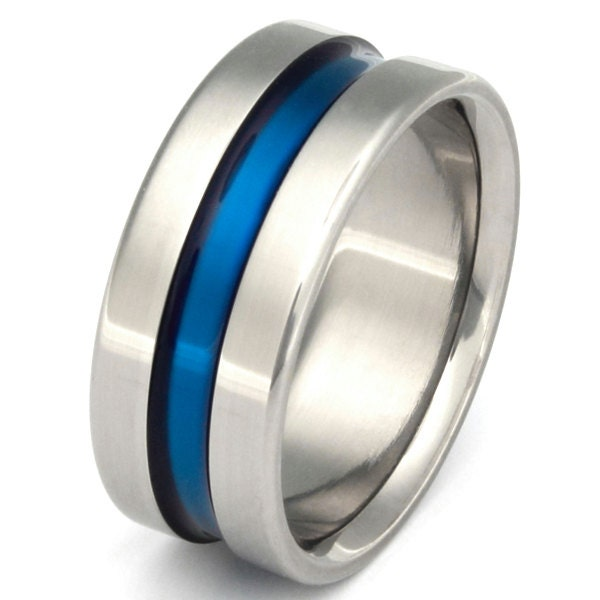 Blue Titanium Wedding Band Wide Blue Ring Thin Blue Line