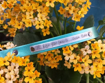 Don't Follow Your Dreams, Chase Them Custom Hand Stamped Firm Maya Blue Hand Cut Leather Wristlet Key Chain Key Fob Lanyard by MyBella