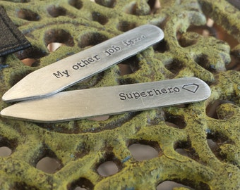 My Other Job Is Superhero Custom Hand Stamped Thick Aluminum Collar Stays with Free Pocket Holder  by MyBella