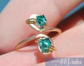 Zircon Toe Ring Blue Green December Birthstone Jewelry