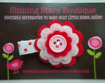 Baby Hair Accessories - Red, Ivory, And Light Pink Layered Felt Flower Boutique Hair Clippie With Button Center For Girls