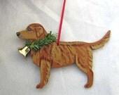 Hand-Painted GOLDEN RETRIEVER DARK Color Wood Christmas Ornament Artist Original....Nicely Painted