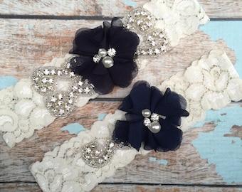 Navy Wedding garter / Lace garter SET / bridal  garter / vintage lace garter / chiffon flower / toss garter / wedding garter