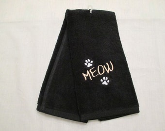 Meow Hand Towel, Pet Towel, Grooming Towel, Embroidered Cat Towel